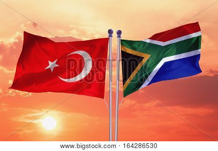 South Africa Flag with Turkey Flag, Flag Design and Presentation