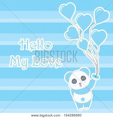 Valentine's day illustration with cute blue panda bring heart balloons on stripes background suitable for Valentine greeting card, invitation card, and postcard