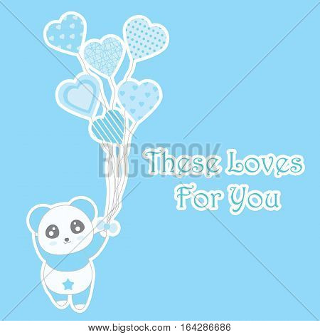 Valentine's day illustration with cute blue panda bring heart balloons on blue background suitable for Valentine greeting card, invitation card, and postcard