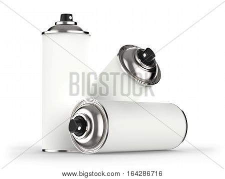 Aerosol cans isolated on white background 3D rendering