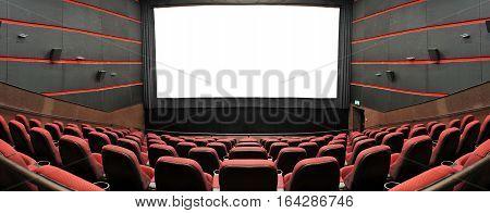 The cinema house. Inside. Empty screen. Mock up