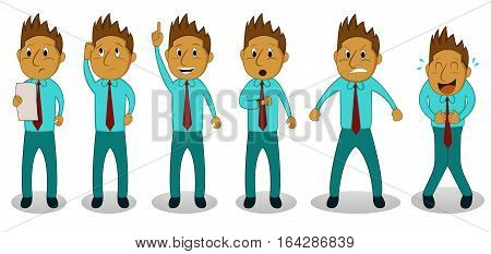 Cartoon set of businessman in different actions. Vector Illustration.