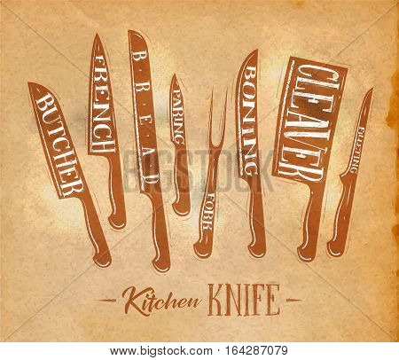 Poster kitchen meat cutting knifes butcher french bread paring fork boning cleaver filleting drawing in retro style on craft paper background