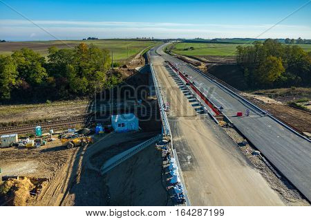 New Road Construction Site Aerial View