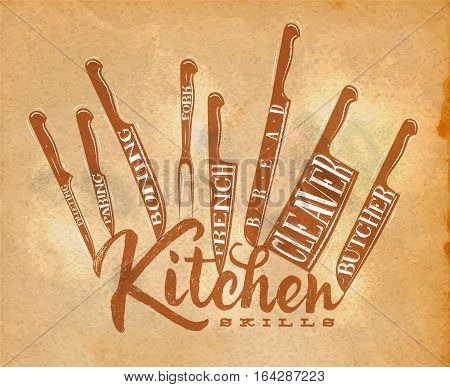 Poster meat cutting knifes butcher french bread paring fork boning cleaver filleting drawing in retro style on craft paper background