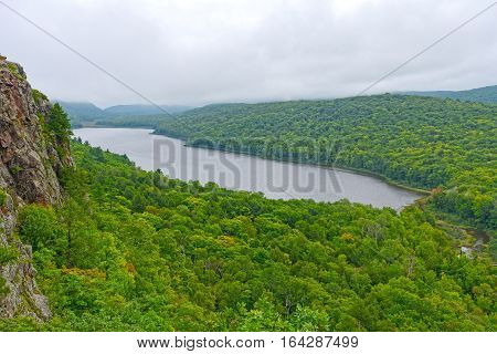 Foggy View of Lake in the Clouds in Porcupine Mountains State Park in Michigan