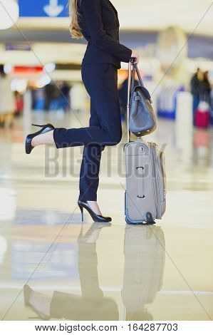 Young Business Woman In International Airport