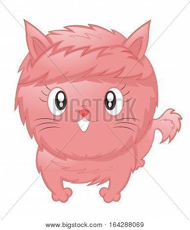Cute Cat with Pink Fur Cartoon Illustration