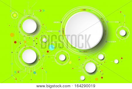 Vector illustration colorful and gear wheel on circuit board Hi-tech digital technology and engineering digital telecoms technology concept Abstract futuristic- technology on green color background