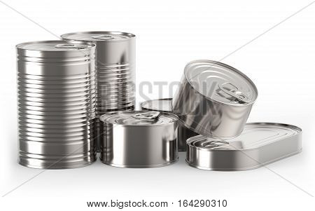 Closed metal tin cans on white background 3D rendering