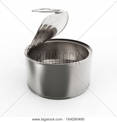 Open round metal tin can on white background 3D rendering