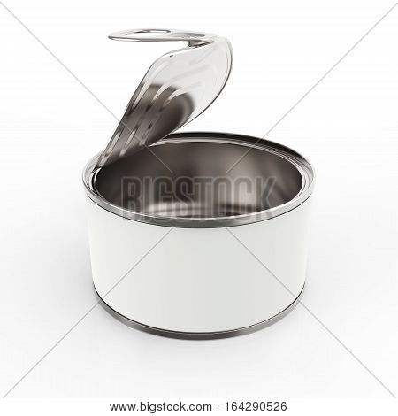 Open round metal tin can with label on white background 3D rendering