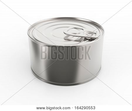 Closed round metal tin can on white background 3D rendering
