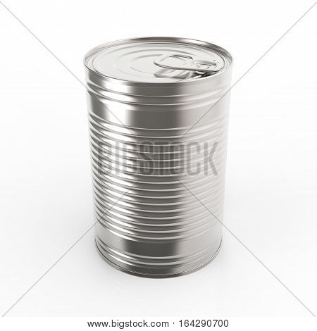 Closed metal tin can on white background 3D rendering
