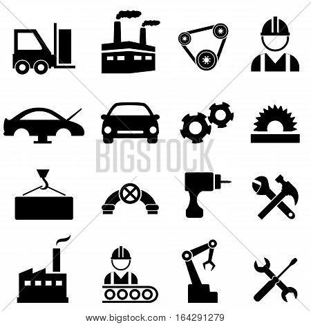 Factory manufacturing machinery and industry icon set