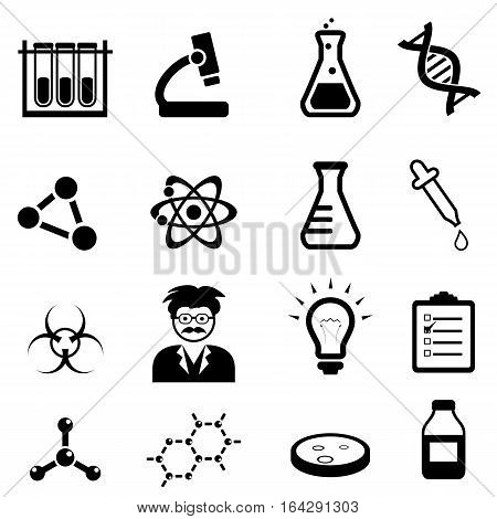 Chemistry biology and physics related science icons