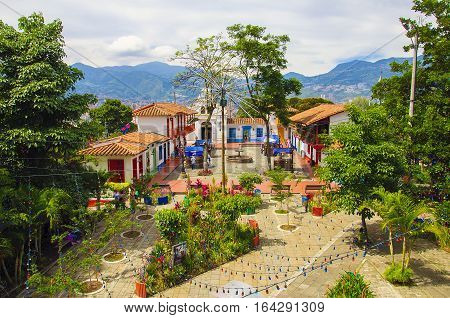 Medellin, Colombia - December 12, 2016: Pueblito Paisa in Nutibara Hill, reproduction of the traditional Colombian township in Medellin city.