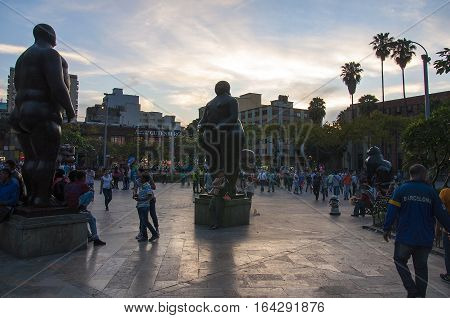 MEDELLIN, COLOMBIA - DECEMBER 13, 2016: Beautiful Botero Plaza in Old Quarter area in Medellin