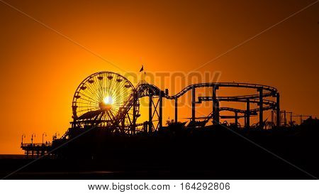 Santa Monica Pier Sunset Silhouette of the rides on the Pier