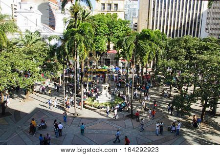 Medellin, Colombia, La Candelaria Church and park de Berrio. December 13, 2016: View of the city. Medellin is Colombia`s second largest city with a population of 2.5 million