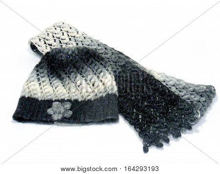 hand knitted beanie hat and scarf pictures