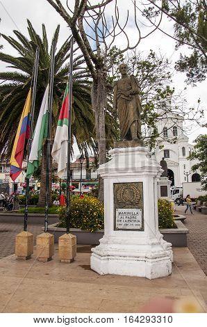 GUATAPE, COLOMBIA - DECEMBER 14, 2016: Bolivar statue in El penol town in Medellin, Colombia