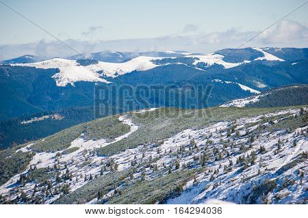 Winter in the national park with mountains
