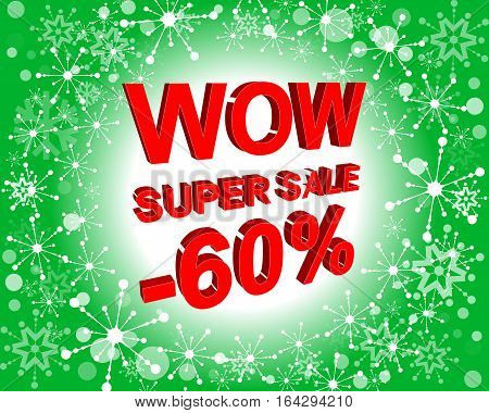 Red And Green Sale Poster With Wow Super Sale Minus 60 Percent Text. Advertising Banner