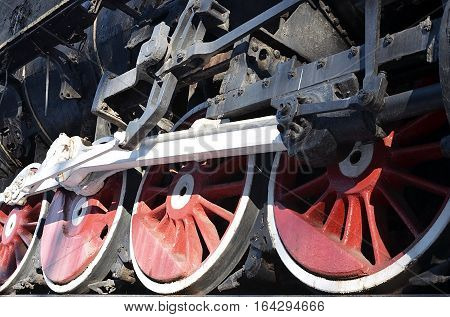 Red Wheels Of Steam Train