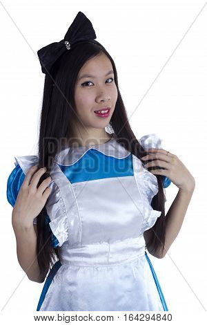 Young girl in the image of Alice on a white background