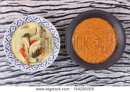 Green Chicken Curry And Fish Curry In Coconut Milk .