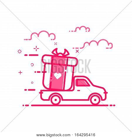 Vector illustration of icon valentines day shopping concept delivery servicein in flat bold line style. Graphic design pink motion truck with gift or bounty. Outline object e-commerce.