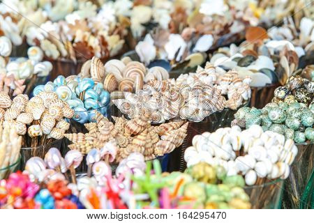 conch or seashells for sell at the market