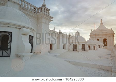 Roof of white Asuncion cathedral in Leon Nicaragua