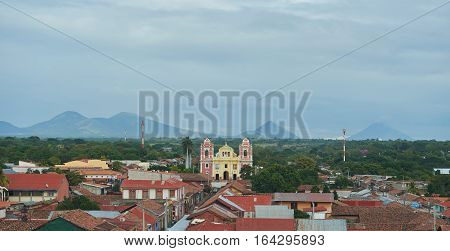 Panorama view of Leon city Nicaragua. Street in NIcaragua town