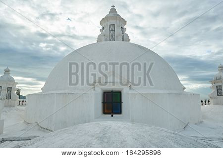 Top part of white roof central cathedral in leon nicaragua