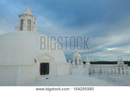White roof in church. Leon city Nicaragua travel symbol