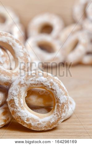 Glazed Bagels On Wooden Table