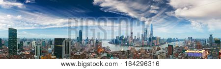 Aerial photography bird view at Shanghai bund Skyline of panorama of twilight