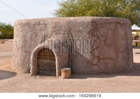 PHOENIX ARIZONA - DECEMBER 9 2016: Pueblo Grande Museum Pithouse Replica. The prehistoric Hohokam culture created the archaeological structures and items of Pueblo Grande.