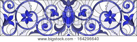 Illustration in stained glass style with abstract swirlsflowers and leaves on a light backgroundhorizontal orientationgamma blue