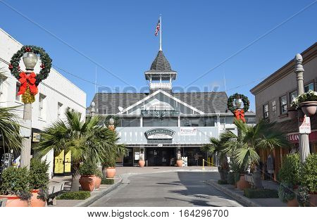 NEWPORT BEACH CALIFORNIA - JANUARY 6 2017: The Balboa Pavilion in Newport Beach Orange County California is a California Historical Landmark and a National Historic Place.