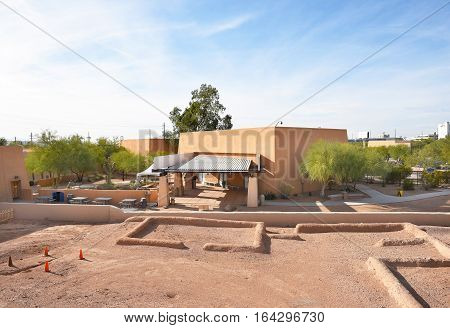 PHOENIX ARIZONA - DECEMBER 9 2016: Pueblo Grande Museum. Ruins of the prehistoric Hohokam culture with Visitor Center in the Background.