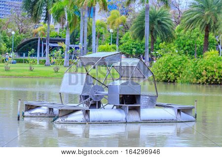 Water turbine of Thailand king - Chaipattana in the public park.