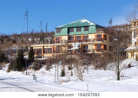 SLOVAKIA HORNY SMOKOVEC - JANUARY 06 2015: One of the hotels in the Horny Smokovec. Is a ski village in the Slovakia. Located in the mountains of the High Tatras at an altitude of 950 meters a.s.l.