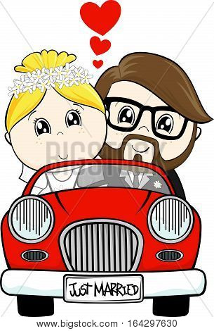 funny illustration of just married bride and groom driving a red car isolated on white background