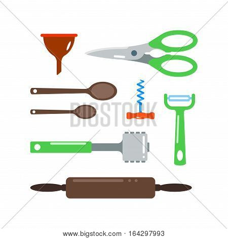 Kitchen and cooking tools set. Kitchenware and utensils food preparation vector illustration for restaurants cafe and culinary blog in flat design.