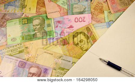Ukrainian Money, Pen And Blank