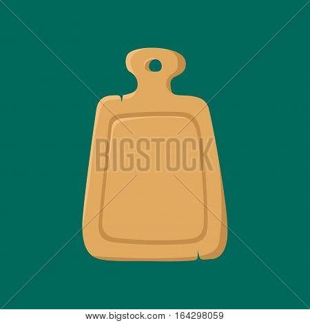 Cutting cooking board equipment natural wooden kitchen tools design top view vector illustration. Household food preparation brown utensil plank desk.