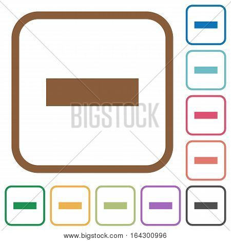 Remove simple icons in color rounded square frames on white background